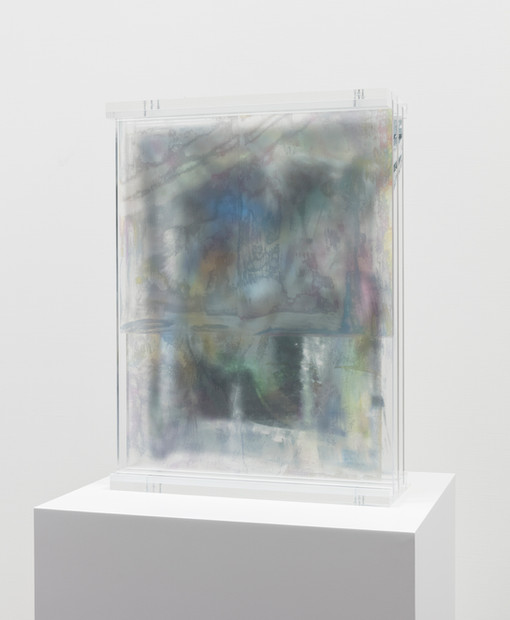 Etchings In The Air, 2019  UV ink on plexiglass  16 x 21 3/4 x 6 inches