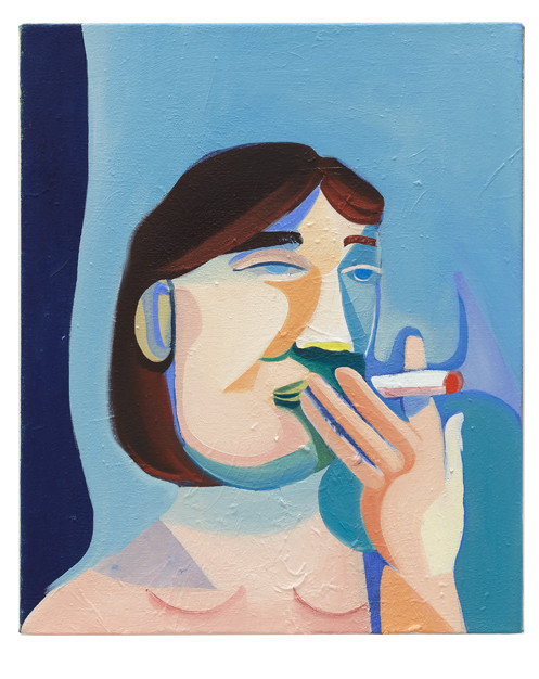 Blue Smoker, 2017 Acrylic on canvas 15 x 18 inches