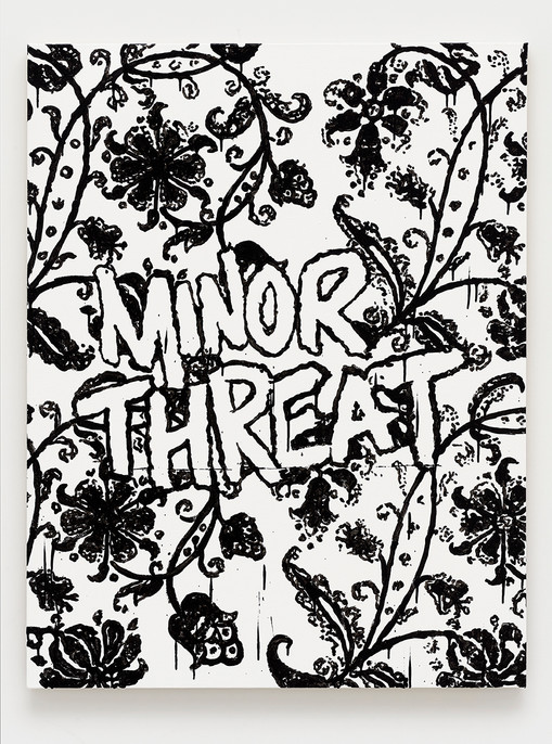 B. Thom Stevenson  Minor Threat, 2021  Acrylic and enamel on canvas  40 x 31 inches