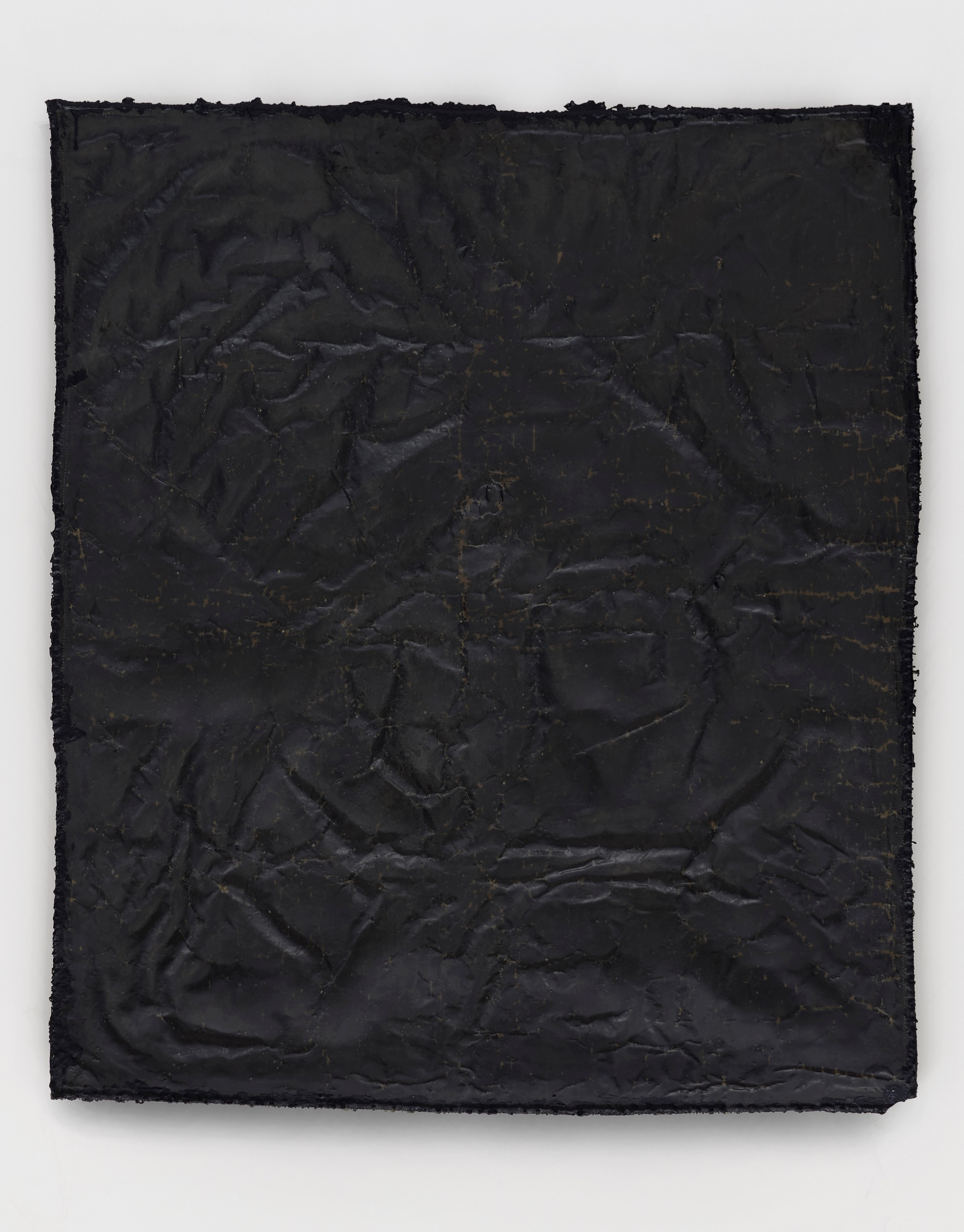 Helmut Lang  network # 4, 2019 Cotton, wax, resin, and tar on canvas 61 3/4 x 52 1/4 x 1 1/2 inches