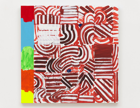 Pam Glick  Untitled, 2021 Acrylic, enamel, flash, wax pencil and graphite on canvas  30 x 30 inches