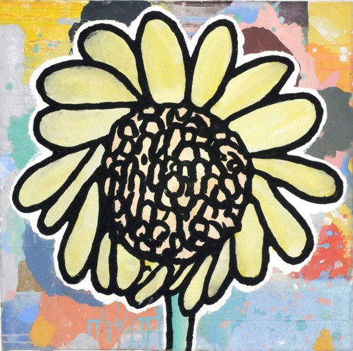 Donald Baechler  Smiles of Secretaries (Yellow Flower), 2020  Acrylic and fabric collage on canvas  24 x 24 inches