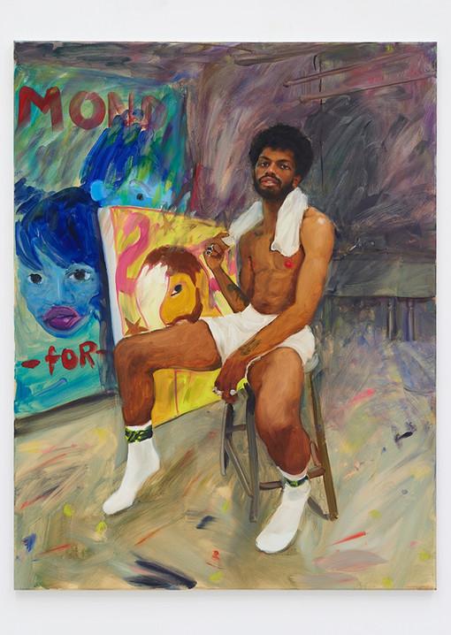 Jenna Gribbon  The Artist Eroticized (Devan), 2020  Oil on linen  48 x 36 inches