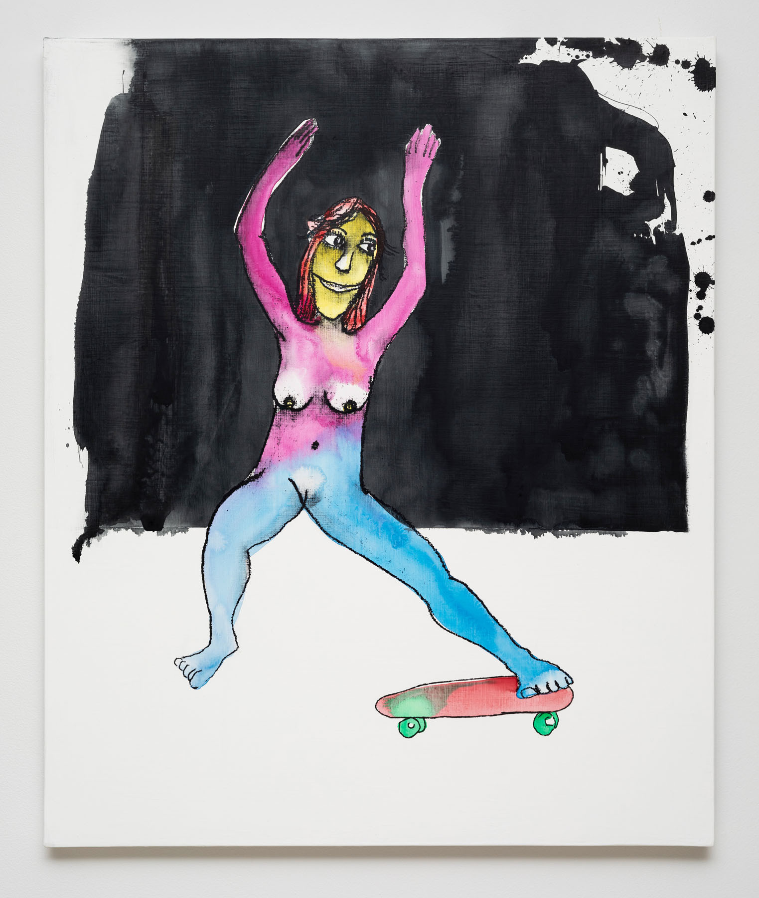 Dan McCarthy  Redondo Beach Skater, 2019  Silkscreen ink, acrylic and gesso on canvas  36 x 30 inches