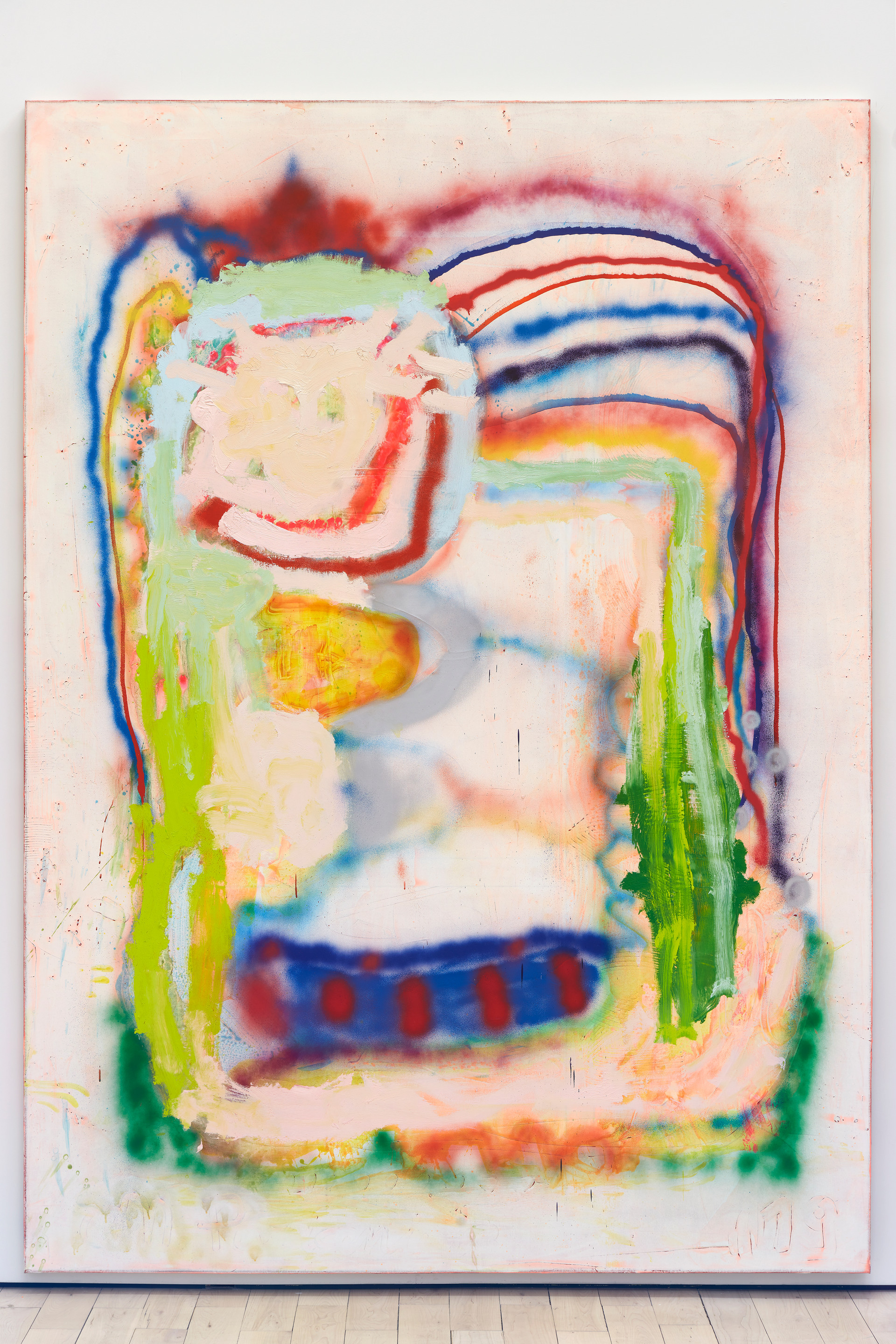 Marco Pariani  Orange Shock Hat, 2020  Oil, acrylic and spray paint on canvas  72 x 100 inches