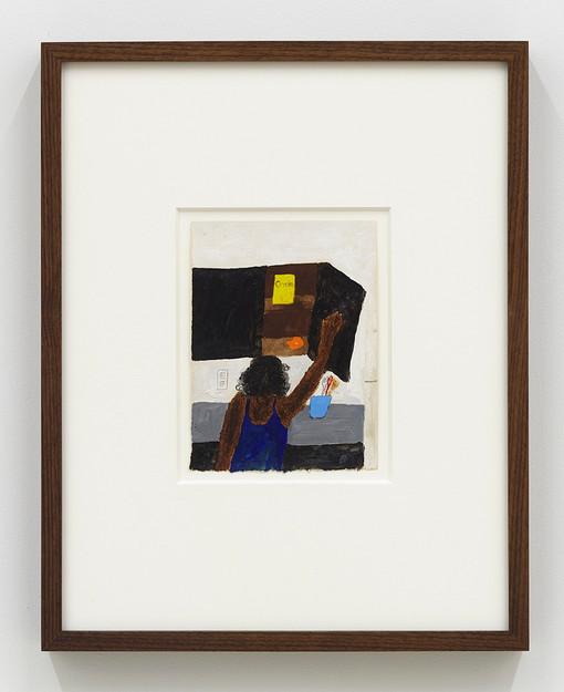 Marcus Leslie Singleton  Damn..., 2020  Acrylic and oil stick on paper  14.75 x 11.75 (framed)