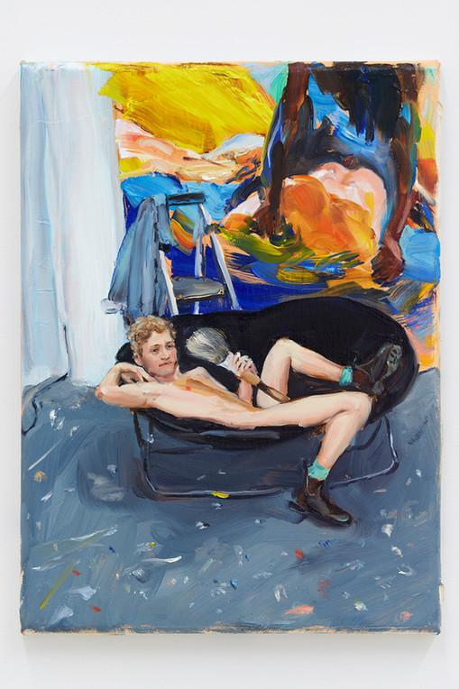 Jenna Gribbon  The Artist Eroticized (Doron), 2020  Oil on linen  9 x 12 inches