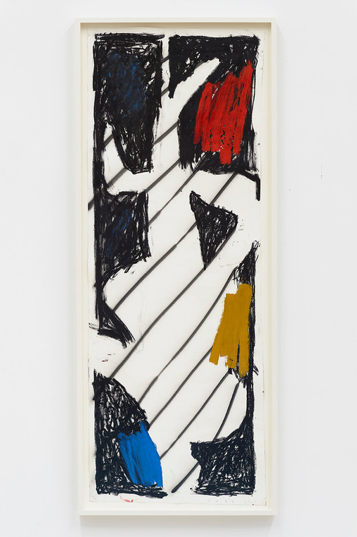 Spencer Sweeney Hanged Man #3, 2020Oil pastel, oil paint, spray paint and pigment stick on paper71 1/2 x 25 1/2 inches73 x 29.25 inches (framed)