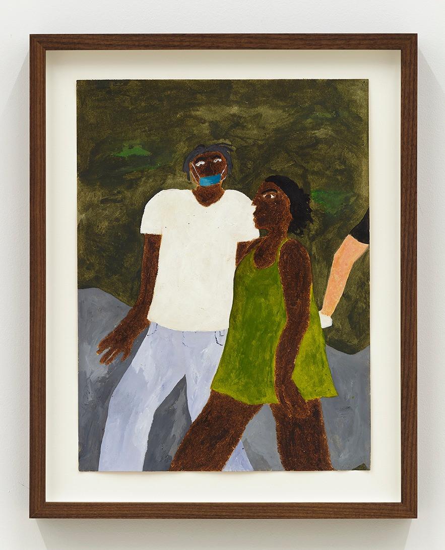 Marcus Leslie Singleton Prospect Park, 2020 Acrylic and oil stick on paper 14.75 x 11.75 (framed)