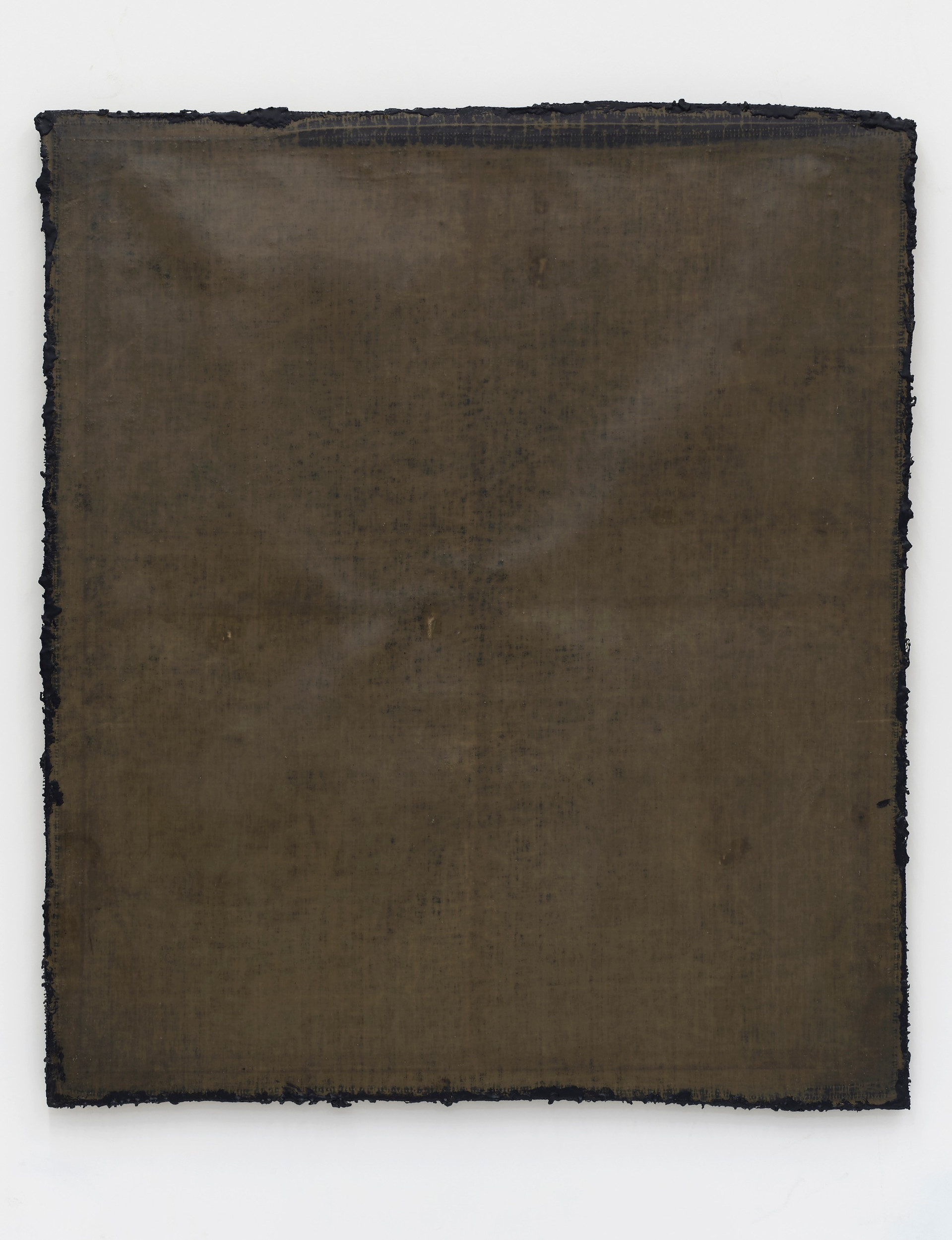 Helmut Lang  network #3, 2019 Cotton, wax, resin, and tar on canvas  61 1/2 x 53 1/4 x 1 1/2 inches
