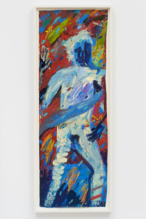 Spencer Sweeney The Athlete, 2020Oil pastel, Oil stick and mixed media on paper68 x 23 inches71 x 26 inches (framed)