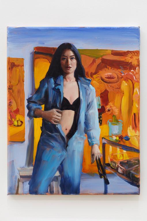 Jenna Gribbon The Artist Eroticized (Dominique), 2020 Oil on linen 14 x 11 inches