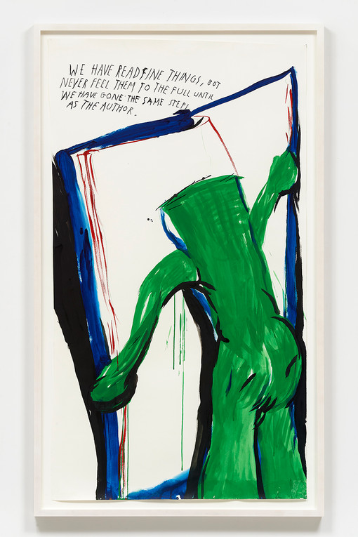 Raymond Pettibon  No Title (We have read…), 2020  Ink and colored pencil on paper 50.5 x 28 inches  53.75 x 31.7 x 2 inches (framed)
