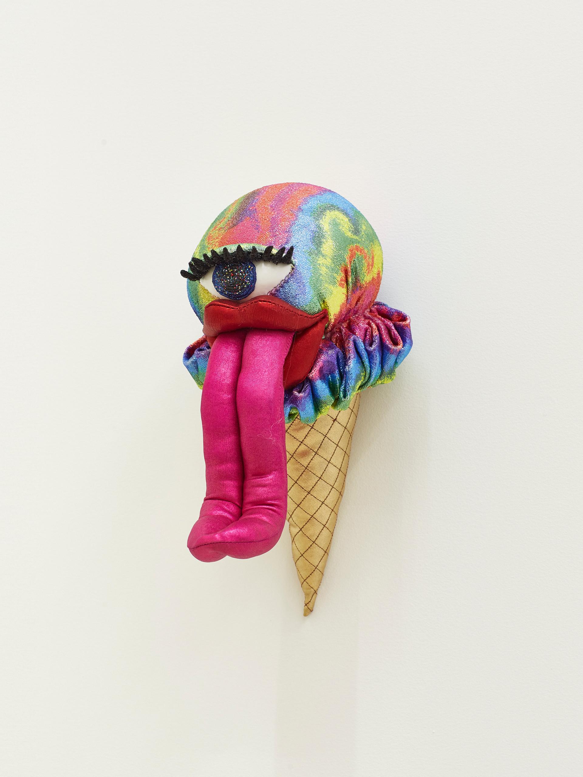Fruity Acid Trip, 2019 Acrylic, felt, fiberfill, glitter, spandex, stretch velvet, string, wire, and vinyl 11 x 5.5 x 9 inches