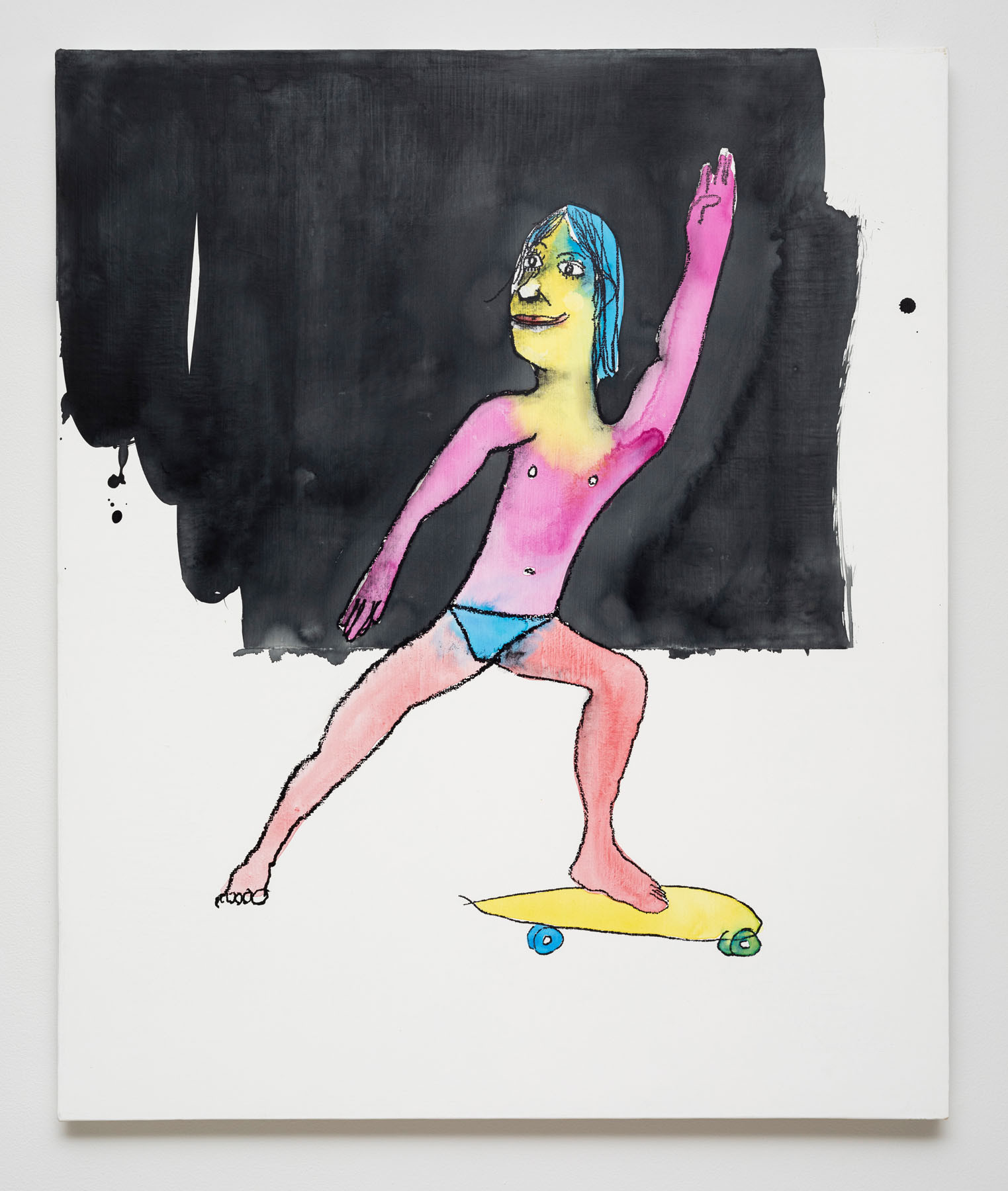 Dan McCarthy  Zuma Beach Skater, 2019  Silkscreen ink, acrylic and gesso on canvas  36 x 30 inches