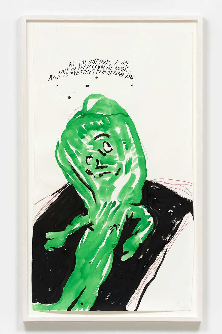 Raymond Pettibon  No Title (At the instant…), 2020  Ink and colored pencil on paper 50.5 x 28 inches  53.75 x 31.7 x 2 inches (framed)