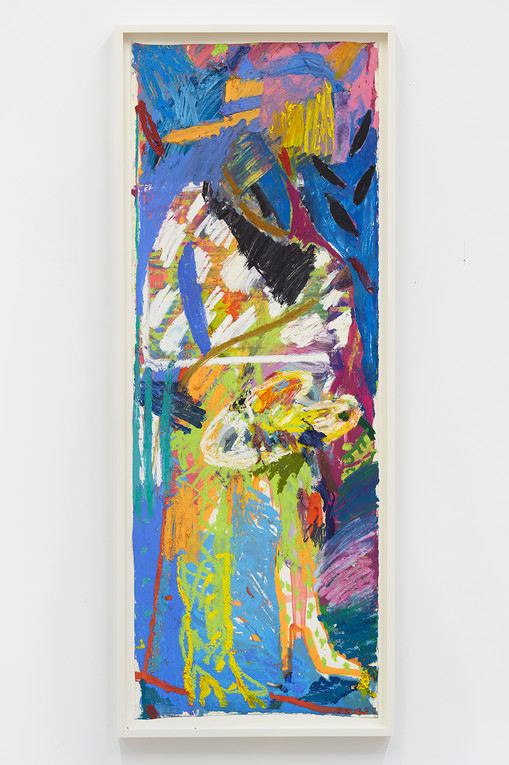 Spencer Sweeney Untitled, 2020Oil pastel and spray paint on paper64.875 x 23.625 inches27.75 x 26.5 inches (framed)
