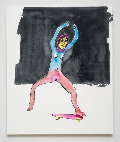 Dan McCarthy  Laguna Beach Skater, 2019  Silkscreen ink, acrylic and gesso on canvas  36 x 30 inches