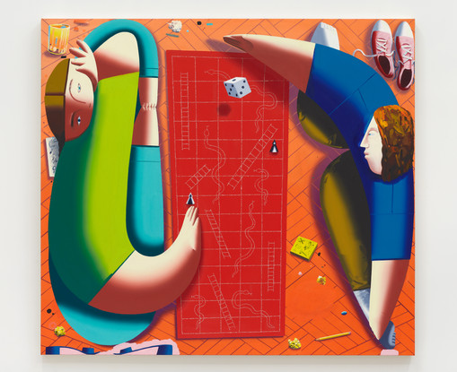 Eleanor Swordy  Snakes and Ladders, 2019  Oil on canvas  54 x 60 inches
