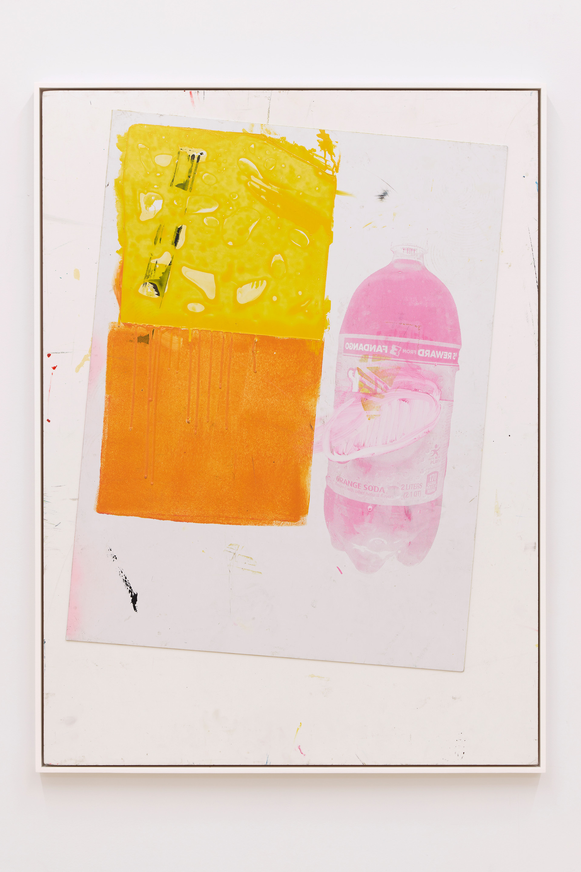 Leo Gabin  Untitled, 2019   Acrylic, silkscreen and collage on PVC board  40 1/2 x 29 1/2 inches
