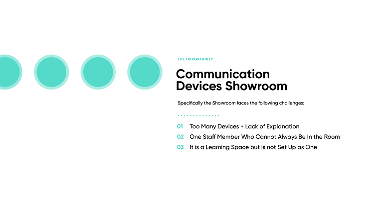 Communication Devices showroom: Specifically, the Showroom faces the following challenges: 1. Too Many Devices + Hard to Explore Alone 2. One Staff Member Who Cannot Always Be In the Room 3. It is a Learning Space but is not Set Up as One