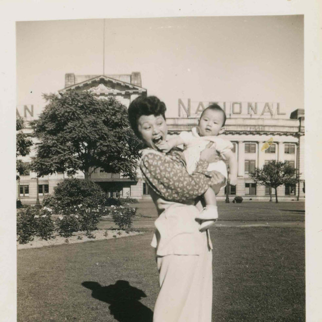 My Grandmother and Uncle in front of Pacific Station
