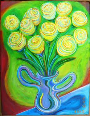 Flowers In Vase (2015)  Acrylic 11x14