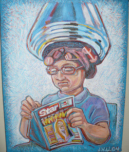 Woman Under Hair Dryer (2004) Acrylic 11x14
