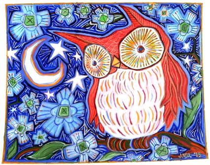 Starry Night Owl (2013) Acrylic 12x15