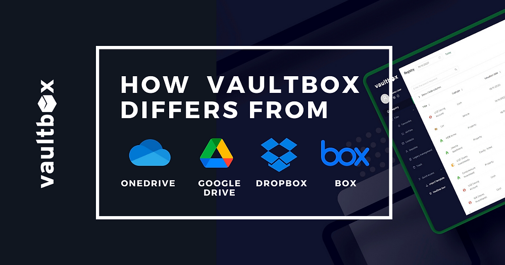 The best legacy planning platform. how vaultbox differs from OneDrive, Google Drive, Dropbox, Box.