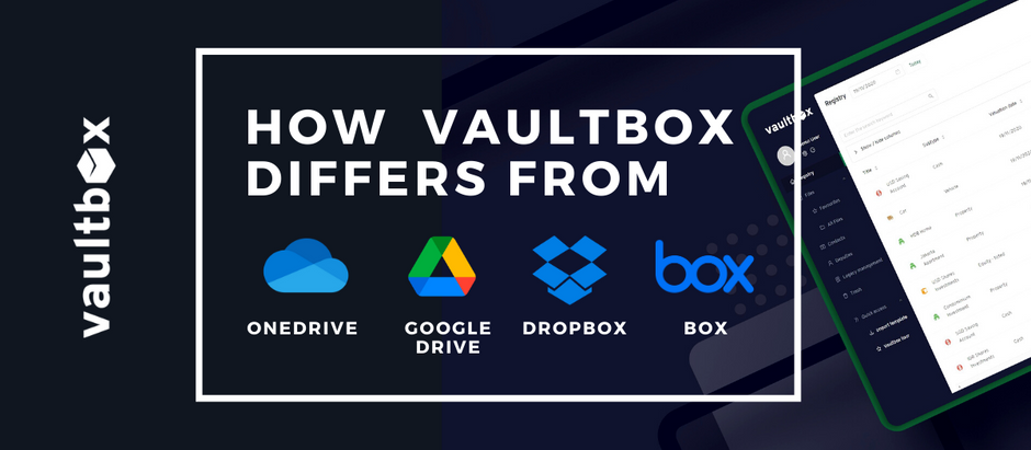 How vaultbox differs from OneDrive, Google Drive, Dropbox & Box