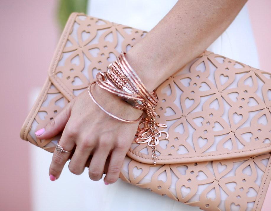 Sydne-Style-rose-gold-jewelry-arm-party-Stella-Dot-bangles-luna-wrap-bracelet-haute-betts-gorjana-griffin