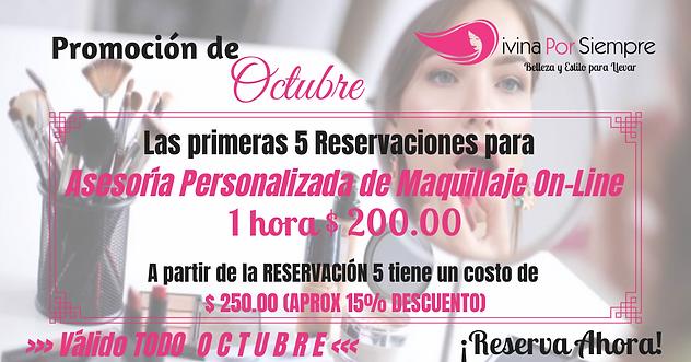 Promociones de Octubre Asesoría Personalizada de Maquillaje On Line