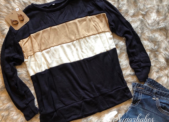 Navy/Gold color block pullover