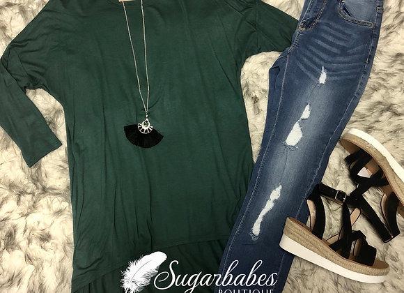 Dark green 3/4 sleeve tunic