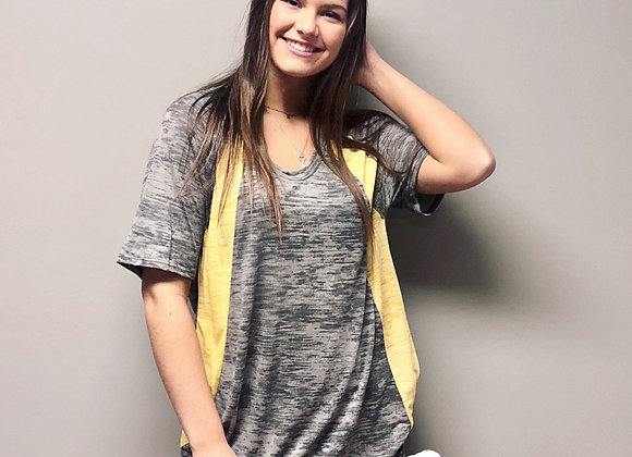 Gray and yellow vneck