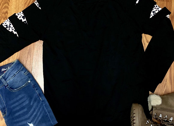 Ripped leopard sweatshirt