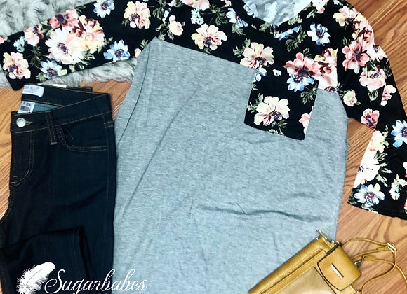 Floral solid mix shirt
