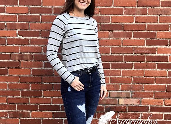 Grey Striped Long Sleeve