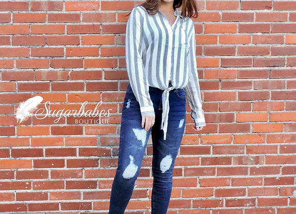 Striped long sleeve button up