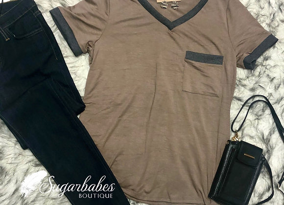 Taupe Contrast Tee