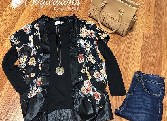 Black floral wrap