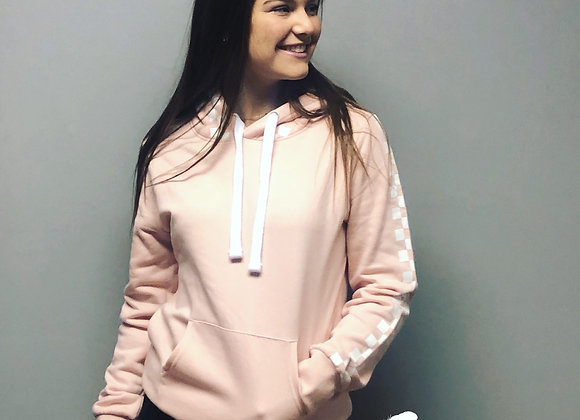 Pink checkered hoodie