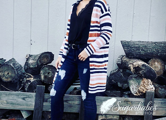 Multi Striped Open Cardigan