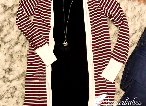 Burgundy striped cardigan
