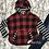 Thumbnail: Girl's buffalo plaid striped hoodie