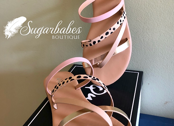 Champagne leopard sandals
