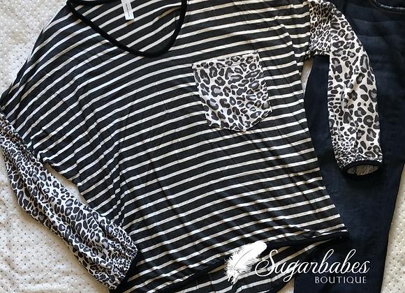 Striped leopard long sleeve