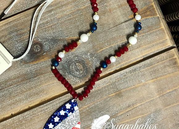 Patriotic teardrop necklace