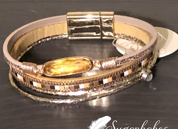 Stone mixed line magnetic bracelet